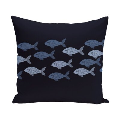 Golden Lakes Fish Line Coastal Outdoor Throw Pillow Size: 18 H x 18 W, Color: Navy Blue