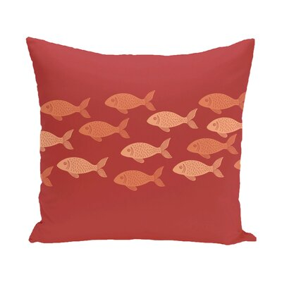 Golden Lakes Fish Line Coastal Outdoor Throw Pillow Size: 16 H x 16 W, Color: Coral