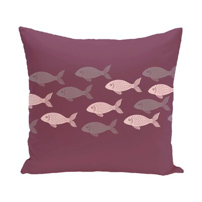 Golden Lakes Fish Line Coastal Outdoor Throw Pillow Size: 16 H x 16 W, Color: Purple