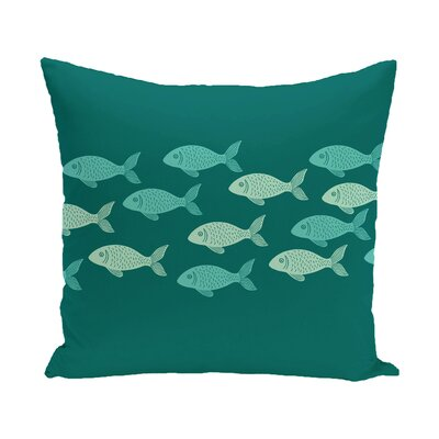 Golden Lakes Fish Line Coastal Outdoor Throw Pillow Color: Teal, Size: 16 H x 16 W