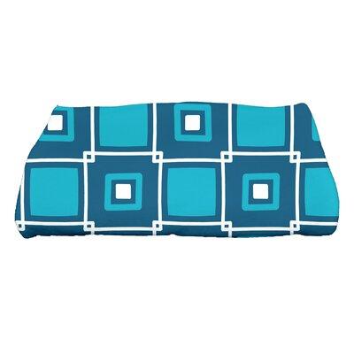 Square Geometric Print Bath Towel Color: Teal