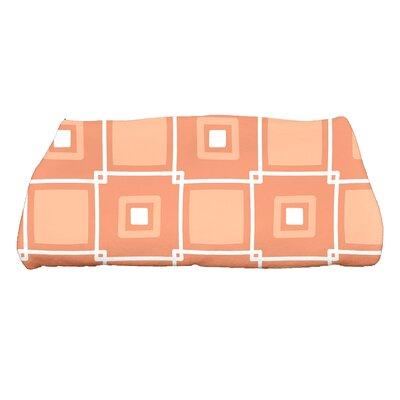 Square Geometric Print Bath Towel Color: Coral