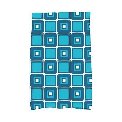 Square Geometric Print Hand Towel Color: Teal