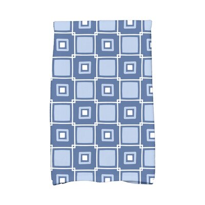 Square Geometric Print Hand Towel Color: Blue