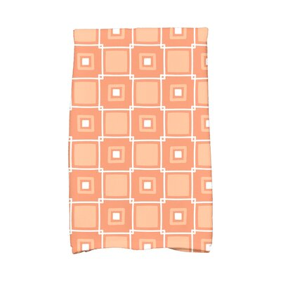 Square Geometric Print Hand Towel Color: Coral