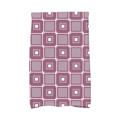 Square Geometric Print Hand Towel Color: Purple