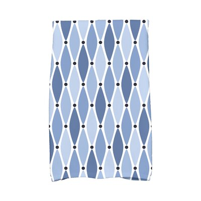Wavy Geometric Print Cotton Hand Towel Color: Blue