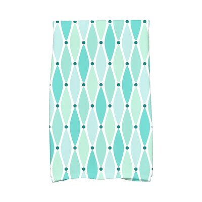 Wavy Geometric Print Cotton Hand Towel Color: Aqua