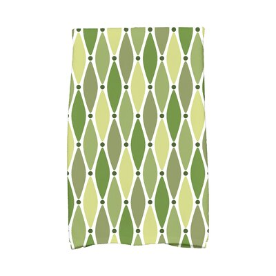 Wavy Geometric Print Cotton Hand Towel Color: Green