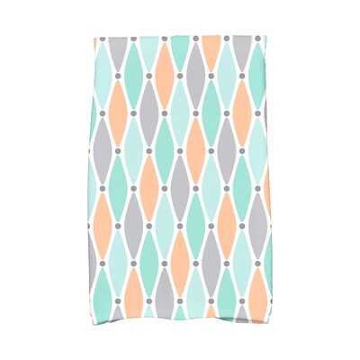 Wavy Geometric Print Hand Towel Color: Aqua