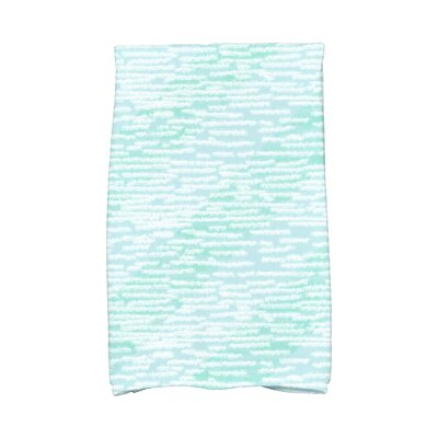 Marled Knit Stripe Geometric Print Hand Towel Color: Aqua