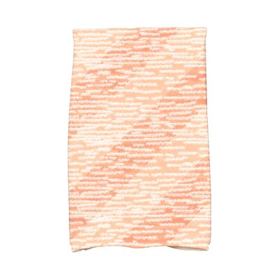 Marled Knit Stripe Geometric Print Hand Towel Color: Coral
