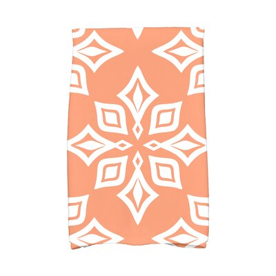 Star Geometric Print Hand Towel Color: Coral