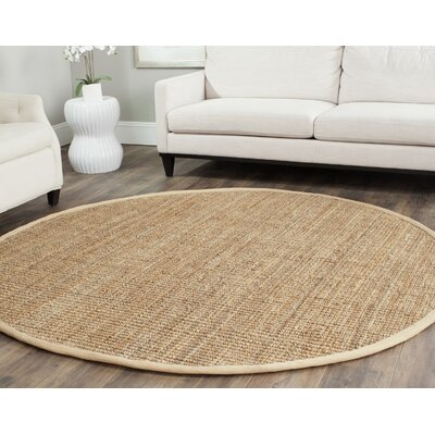 Colleton Hand-Loomed Beige Area Rug Rug Size: Round 4
