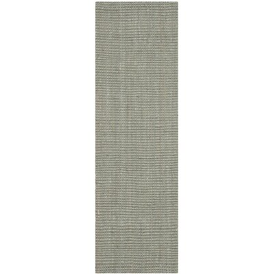 Calidia Hand-Loomed Gray Area Rug Rug Size: Runner 23 x 15