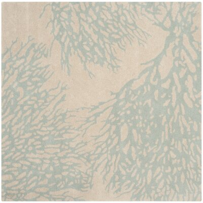 Juniper Beige/Blue Area Rug Rug Size: Square 5
