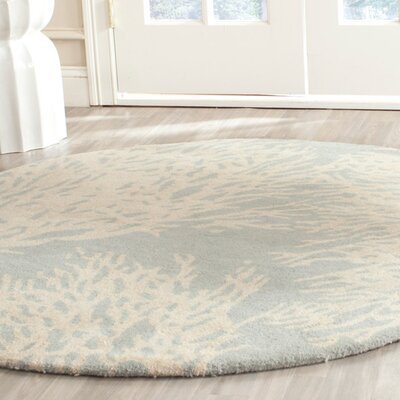 Juniper Hand-Tufted Wool Beige/Gray Tribal Area Rug Rug Size: Round 5