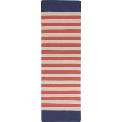 Granby Coral/Ivory Stripe Area Rug Rug Size: Runner 26 x 8