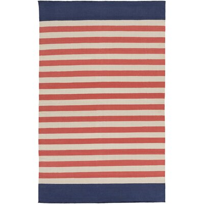 Granby Coral/Ivory Stripe Area Rug Rug Size: 5 x 8