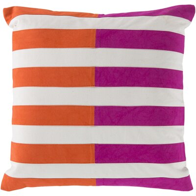 Kinslee 100% Cotton Throw Pillow Cover Size: 18 H x 18 W x 0.25 D, Color: PinkOrange
