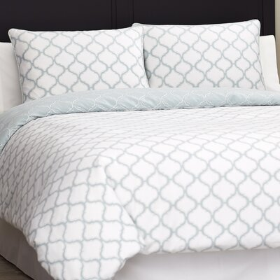 Northcrest 3 Piece Cotton Sateen Duvet Cover Set Size: King, Color: Blue