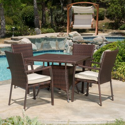 Brandon 5 Piece Rectangle Dining Set with Cushion Finish: Brown, Cushion Color: White
