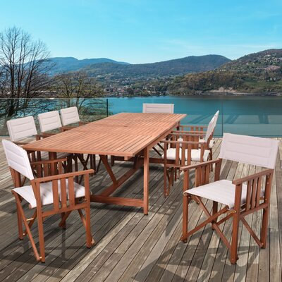 Elsmere Extendable Patio 9 Piece Dining Set