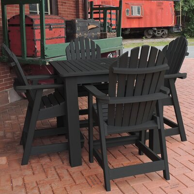 Deerpark 5 Piece Counter Height Dining Set Finish: Black