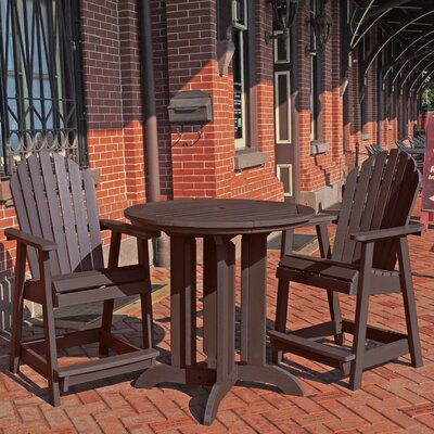 Deerpark 3 Piece Counter Height Dining Set Finish: Weathered Acorn
