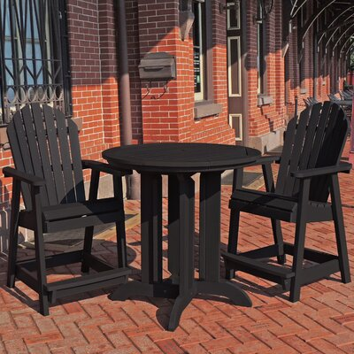 Deerpark 3 Piece Counter Height Dining Set Finish: Black