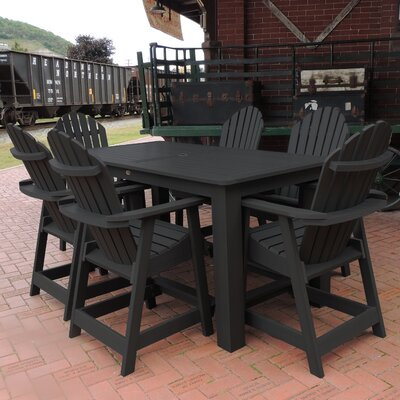 Shelton 7 Piece Counter Height Dining Set Finish: Black