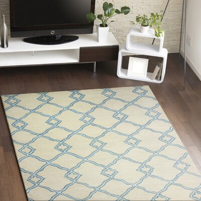 Hand-Tufted Ivory/Blue Area Rug Rug Size: Runner 26 x 8