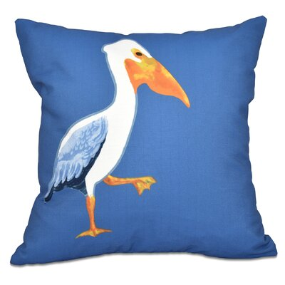 Cedarville Pelican March Outdoor Throw Pillow Size: 18 H x 18 W, Color: Blue