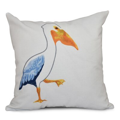 Cedarville Pelican March Outdoor Throw Pillow Size: 18 H x 18 W, Color: White