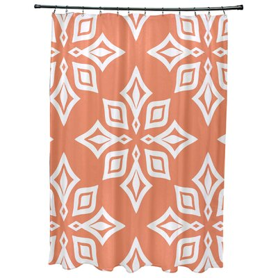 Cedarville Star Geometric Print Shower Curtain Color: Coral