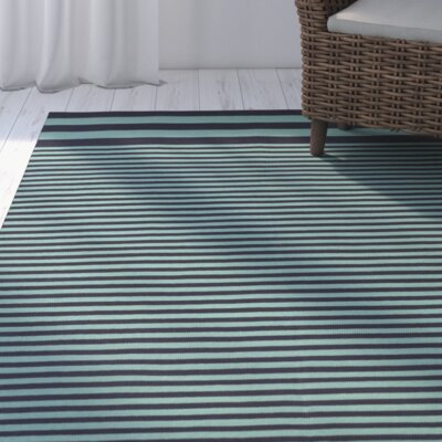 Kinslee Stripe Black/Teal Area Rug Rug Size: Rectangle 33 x 53