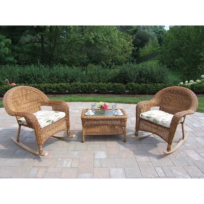 Kingsmill 3 Piece Wicker/Rattan Rocker Seating Group Set Fabric: Floral