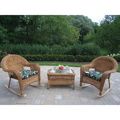 Kingsmill 3 Piece Wicker/Rattan Rocker Seating Group Set Fabric: Ebony Floral