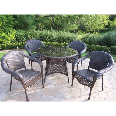 Kingsmill Traditional 5 Piece Wicker/Rattan Dining Set