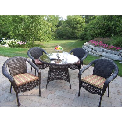 Claremont Dining Set with Cushions Cushion Color: Brown