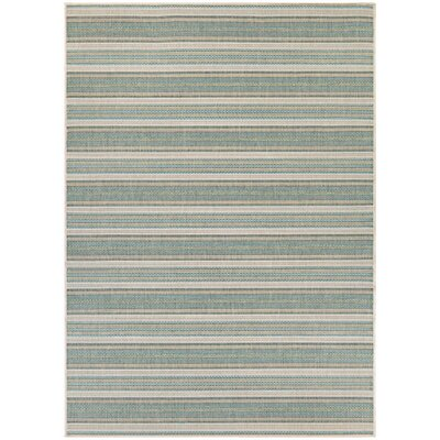 Wexford Blue/Ivory Indoor/Outdoor Area Rug Rug Size: 53 x 76