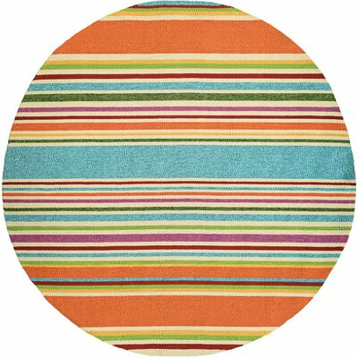 Colfax Hand-Woven Azure/Orange Indoor/Outdoor Area Rug Rug Size: Round 710