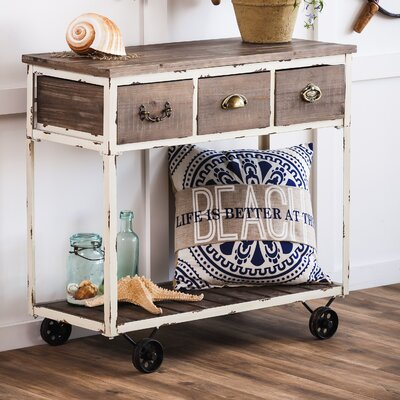 Amherst Distressed Wooden Console Table with Wheels
