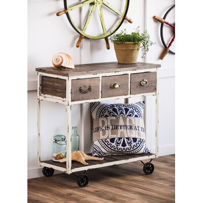 Tilman Distressed Wooden Console Table with Wheels