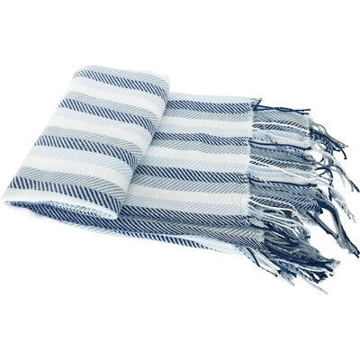 Scarborough Herringbone Cashmere Like Fringed Throw Blanket Color: Blue