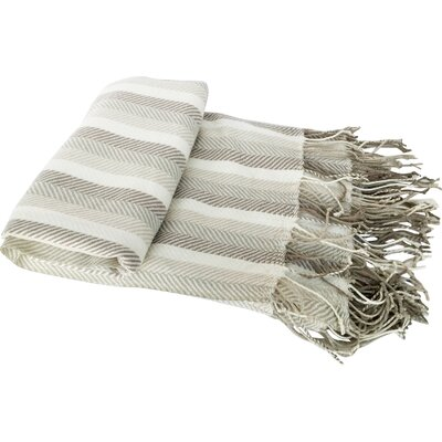 Caylee Herringbone Cashmere Like Fringed Throw Blanket Color: Green