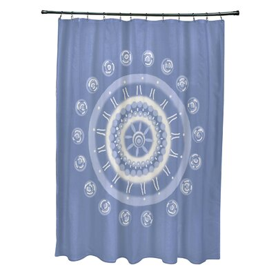 Rajashri Geometric Shower Curtain with 12 Hooks Color: Light Blue
