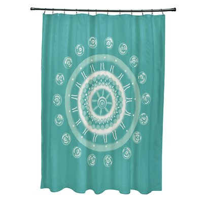 Rajashri Geometric Shower Curtain with 12 Hooks Color: Aqua