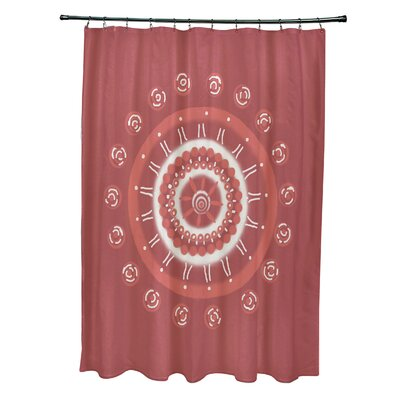 Rajashri Geometric Shower Curtain with 12 Hooks Color: Coral