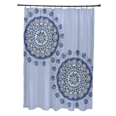 Rajashri Circle in Center Geometric Shower Curtain Color: Light Blue/Navy Blue